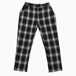 Navy and White Plaid Pants
